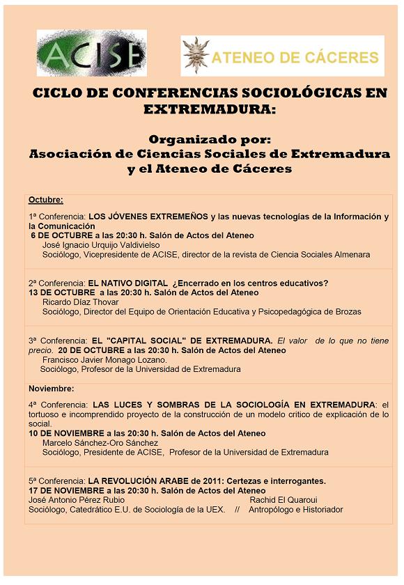 Cartel del ciclo de conferencias 2011. Acise - Ateneo de Cáceres