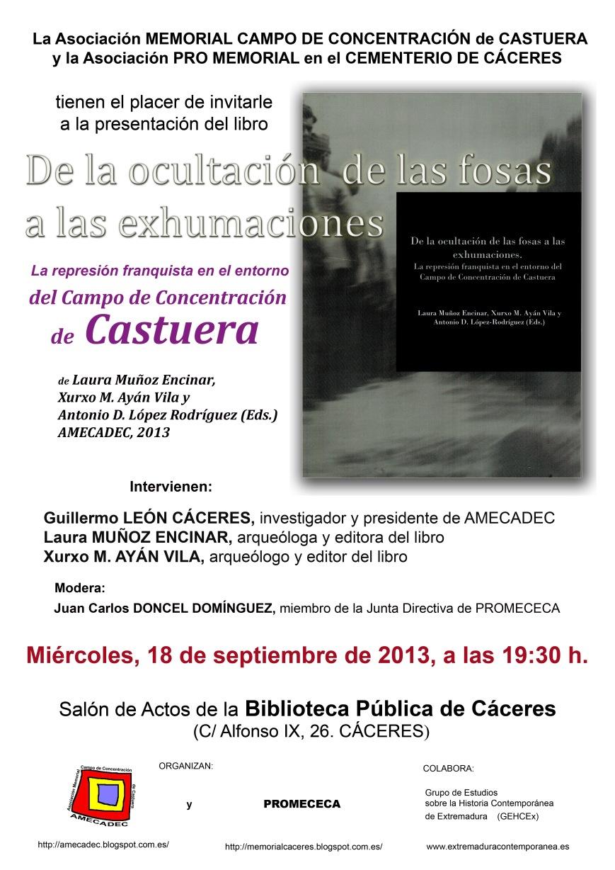 Presentación del libro sobre los resultados de las exhumaciones de Castuera en los años 2011 y 2012